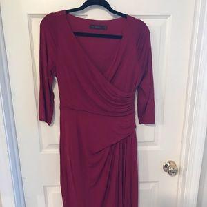Red Faux Wrap Maxi Dress